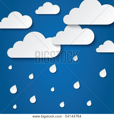 Paper white clouds on blue. Paper raindrops.