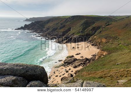 Porthchapel beach in autumn Cornwall England UK near the Minack Theatre and Porthcurno