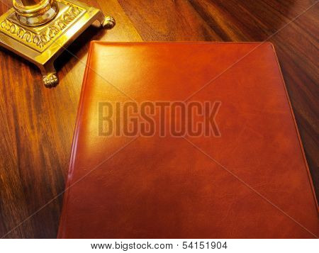 Reservation book, Portfolio, Visitors book of a fine restaurant or hotel etc.