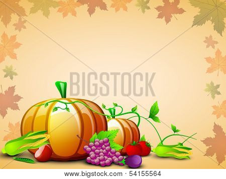 Happy Thanksgiving Day concept with fruits, vegetables and green leaves on seamless maple leaves background, can be use as flyer, banner or poster.