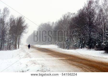 Rural roads in the snow in winter