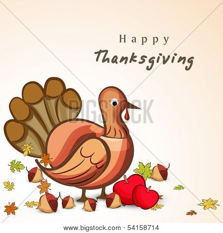 Happy Thanksgiving Day concept with turkey bird, fruits and autumn leaves, can be use as flyer, banner or poster.