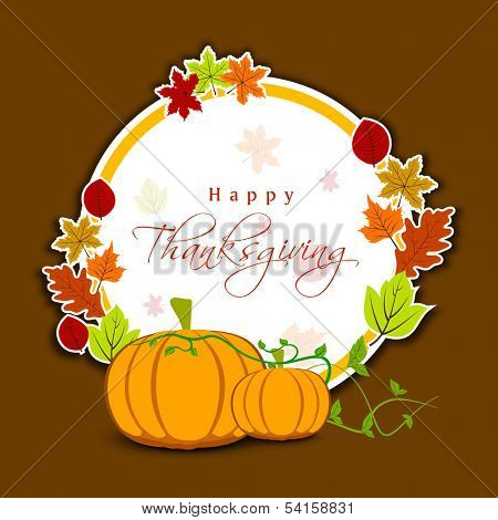 Happy Thanksgiving Day celebration greeting card or gift card with pumpkins, maple leaves, and space for your text on brown background.