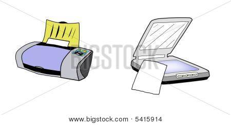 Printer And Scanner Illustration