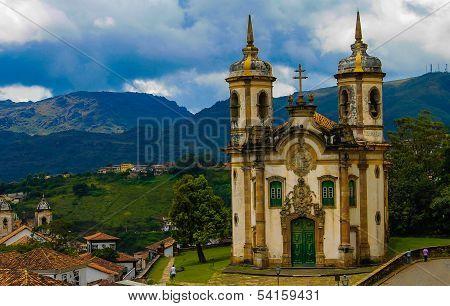 Beautiful Church In Historical City Of Ouro Preto, Minas Gerais, Brazil
