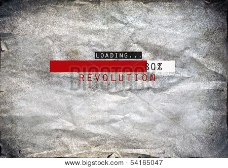 Loading revolution draw on a grunge background poster