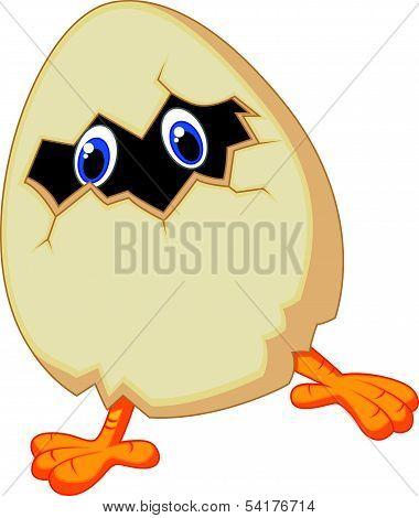 Little chicken cartoon in egg