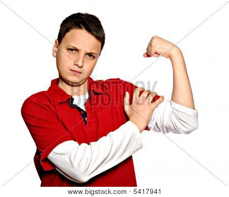 Young Man Showing Muscles