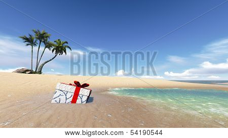 Gift Box On The Beach