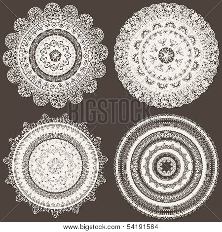 vector seamless pattern with lacy napkins can be used separately poster