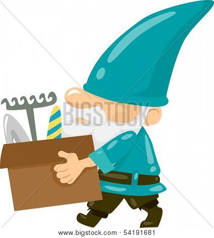 Illustration of a Gnome Carrying a Box of Gardening Tools