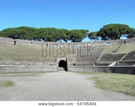 The amphitheater of ancient Pompeii.