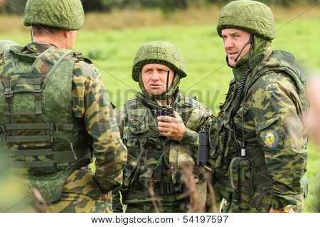 KOSTROMA REGION - AUGUST 26: Soldiers on the Command post exercises with 98-th Guards Airborne Division, August 26, 2010 in Kostroma region, Russia.