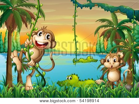 Illustration of a lake with crocodiles and monkeys playing