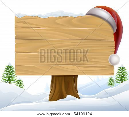 Christmas Santa Hat Snow Sign