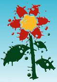 Flower as form of drops. Fun. Vector illustration. poster