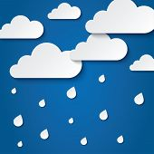 Paper white clouds on blue background. Paper raindrops. Rainy day. Vector abstract background with clouds and rain. Paper drops. Flat icons. poster