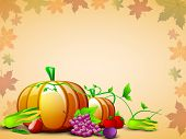 Happy Thanksgiving Day concept with fruits, vegetables and green leaves on seamless maple leaves background, can be use as flyer, banner or poster.  poster