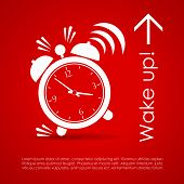 Wake up vector poster with alarm clock poster