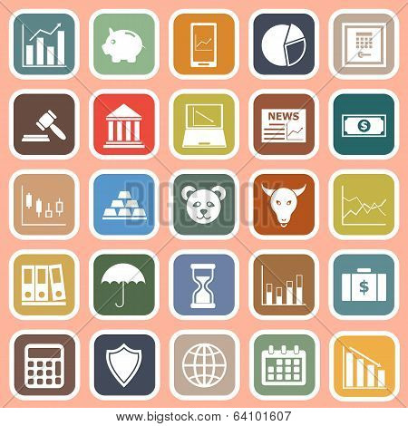 Stock Market Flat Icons On Red Background