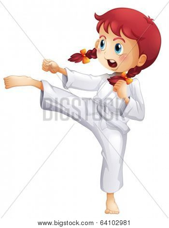 Illustration of a young lady doing karate on a white background