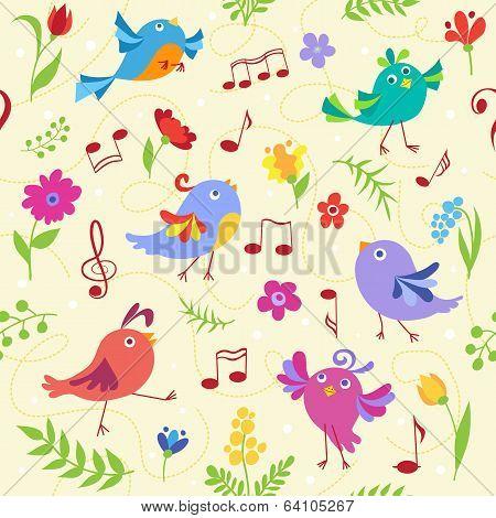 Cute spring musical birds seamless pattern