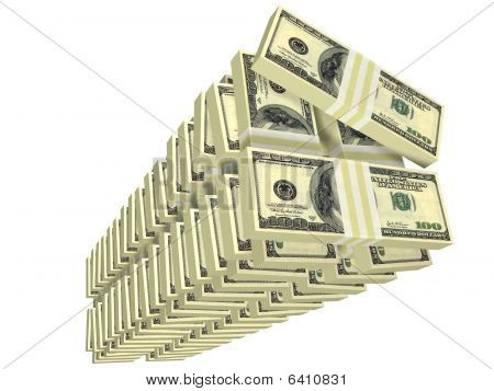 Unordered Tall Stack Of Bills Isolated