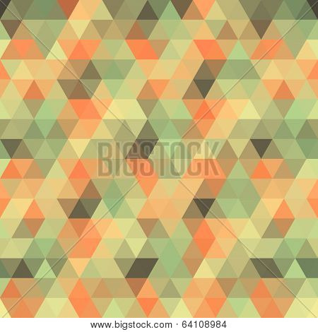 Retro triangular background. Colorful hipster pattern with triangle mosaic.