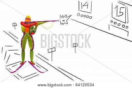 Shooting Biathlete.