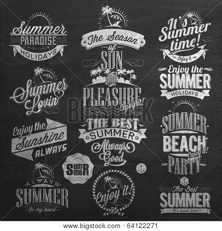 Retro Elements for Summer Calligraphic Designs On Chalkboard