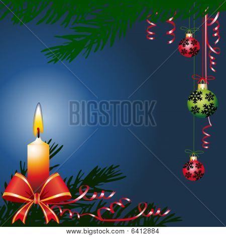 Christmas balls and candle