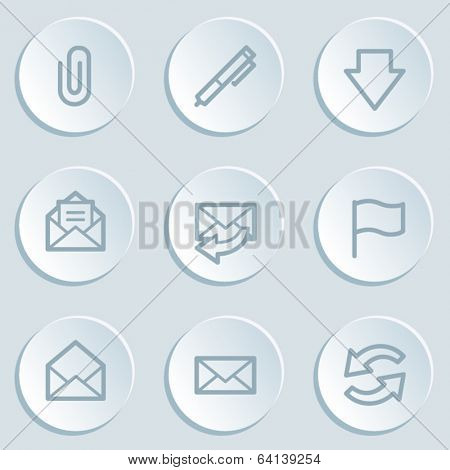 E-mail web icons, white sticker buttons
