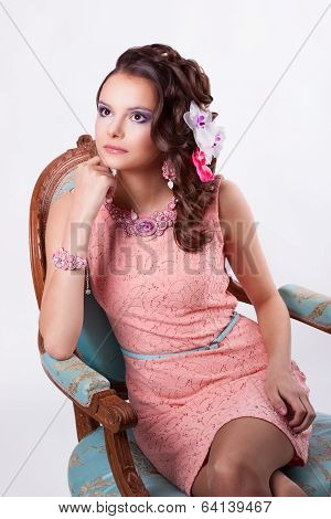 Thoughtful Girl With Ornaments In The Art Soutache Sitting On A Chair Baroque