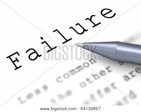 Failure Word Shows Inept Unsuccessful Or Lacking