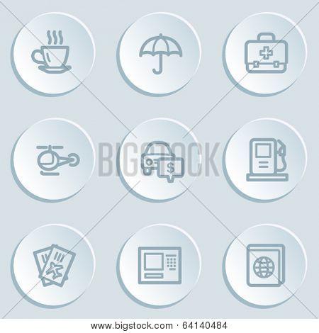 Travel  web icon set 4, white sticker buttons