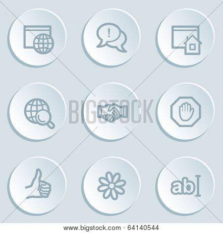 Internet web icon set 1 , white sticker buttons