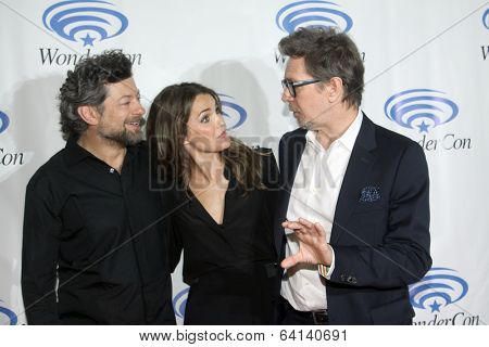APRIL 19-ANAHEIM, CA:  Andy Serkis, Keri Russell and Gary Oldman arrive at the 2014 Annual Wondercon press room for