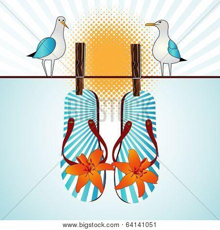 Summertime flipflops seagulls sunshine  poster