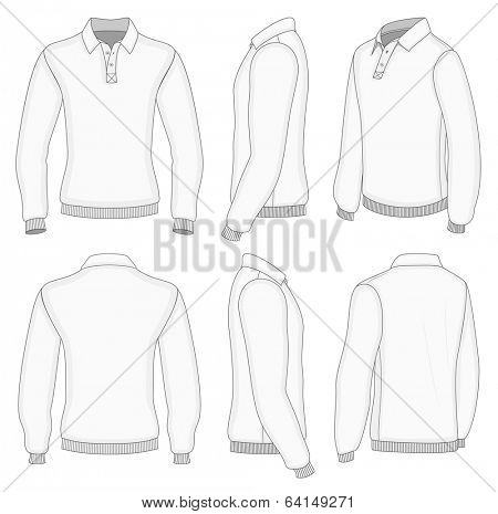 All views men's white long sleeve polo shirt design templates (front, back, half-turned and side views). Ribbed cuffs and waistband.