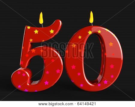 Number Fifty Candles Show Fiftieth Birthday Candles Or Celebrati