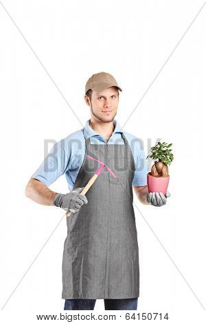 Male gardener holding a mattock and a plant isolated on white background