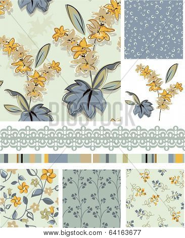 Seamless Floral Vector Patterns and Icons. Use as fills or print off onto fabric to create unique items.