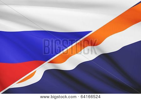 Series Of Ruffled Flags. Russia And Republic Of The Marshall Islands.