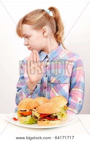 Little Blond Caucasian Girl Saying Hamburgers: No