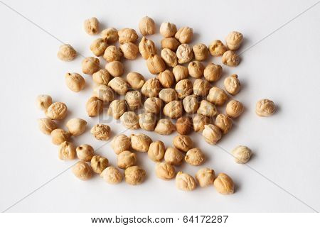 Spilled Chickpeas On A White Background