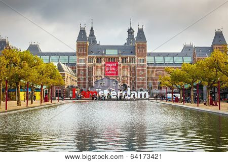AMSTERDAM - OCTOBER 2, 2012: The Rijksmuseum Amsterdam museum area with the words IAMSTERDAM on October 2, 2012 in Amsterdam, The Netherlands. The museum was opened to the public in 1800.