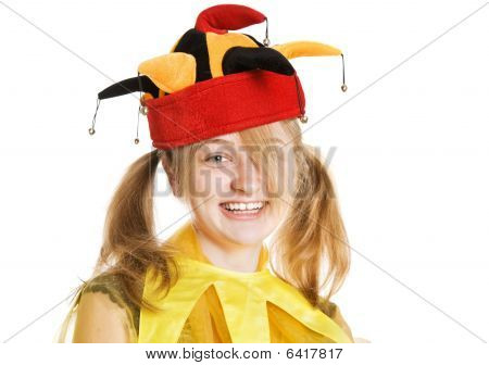 Young Blond Woman In Fool's Cap