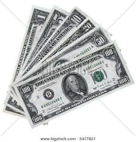 Stack Of Paper Dollars Isolated On A White
