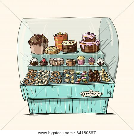 Hand drawn counter with bakery. Shopwindow with pastry illustration.