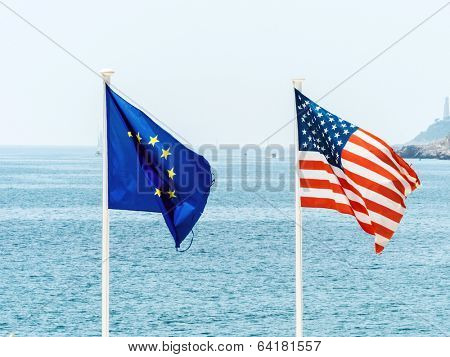 flags of the european union and the united states, symbolic photo for, diplomacy, foreign policy poster